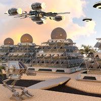 3D model pyramid city