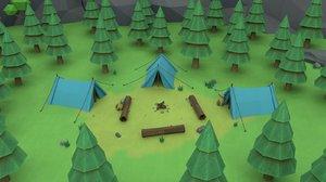 cartoon camp 3D model
