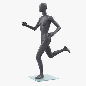 female mannequin grey running 3D model