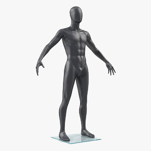 3D male mannequin dark grey