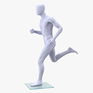 3D running male mannequin man model