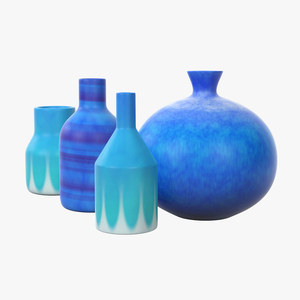 3D decorative set blue ceramic model