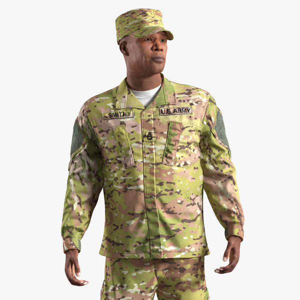3D african-american army soldier camofluage model