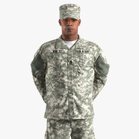 African-American US Army Soldier Fur Rigged 3D Model