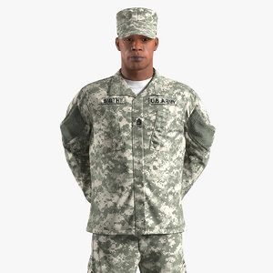 3D african-american army soldier american