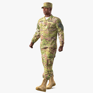 3D army camo soldier marching