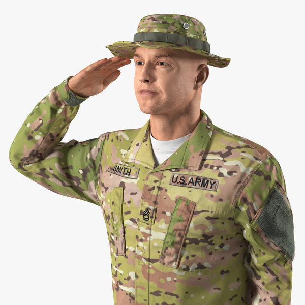 army soldier camo saluting 3D model