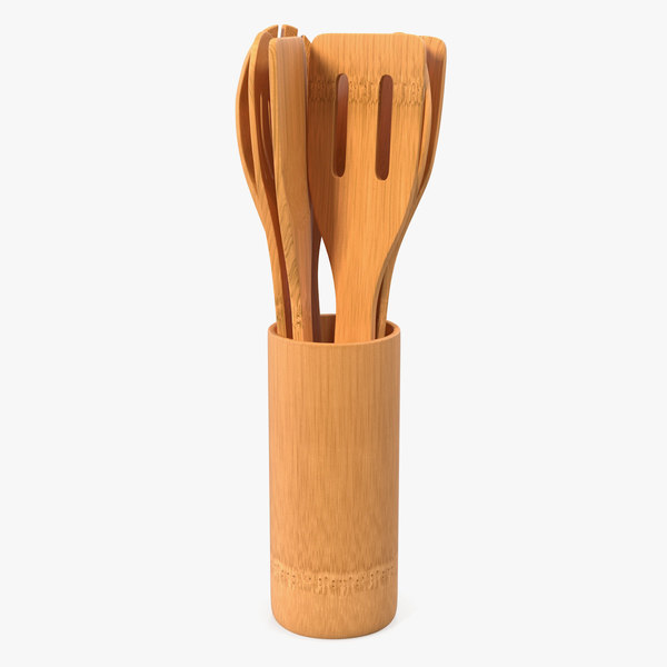 wooden cooking spoons set 3D