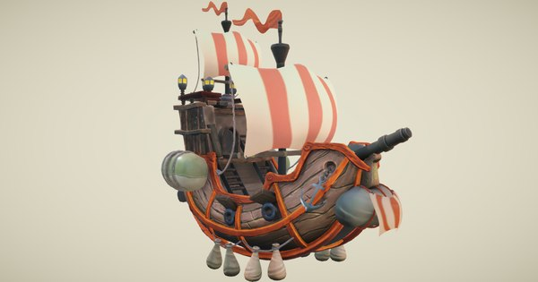 flying ship hand-painted 3D