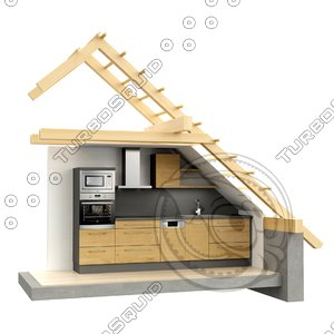 3D stylized building kitchen