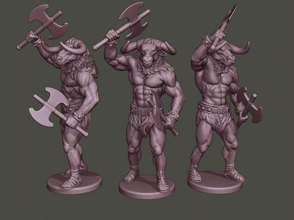 minotaur warrior stand2 axes 3D