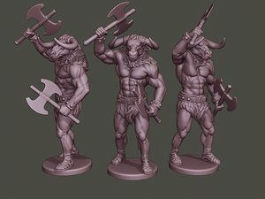minotaur warrior stand2 axes 3D