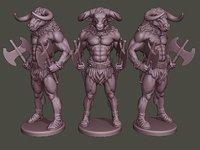 3D model minotaur warrior stand axes