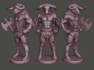 3D model minotaur warrior stand axes