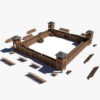 3D modular fort fortress model