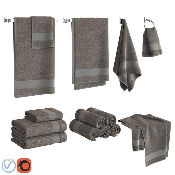 3D set towels