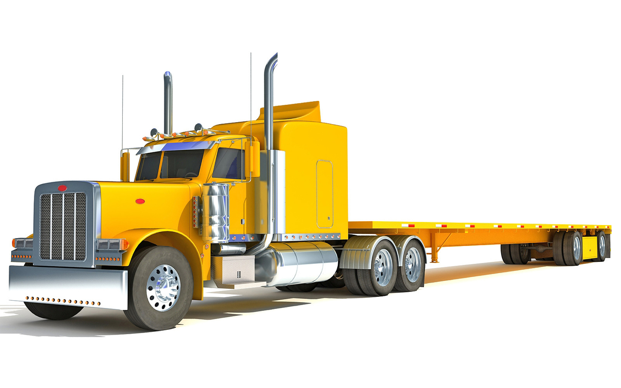 heavy truck flatbed 3d model