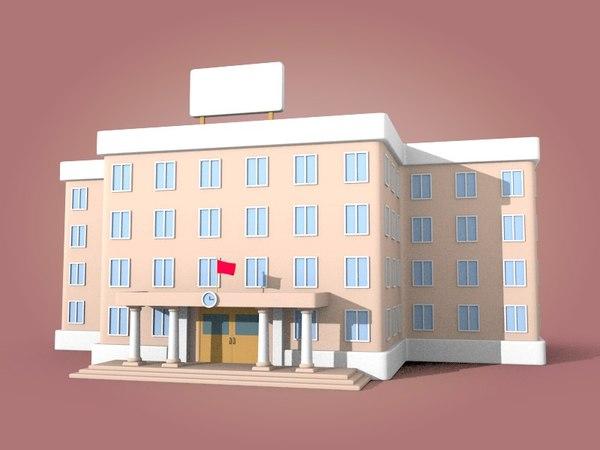 3D model cartoon university