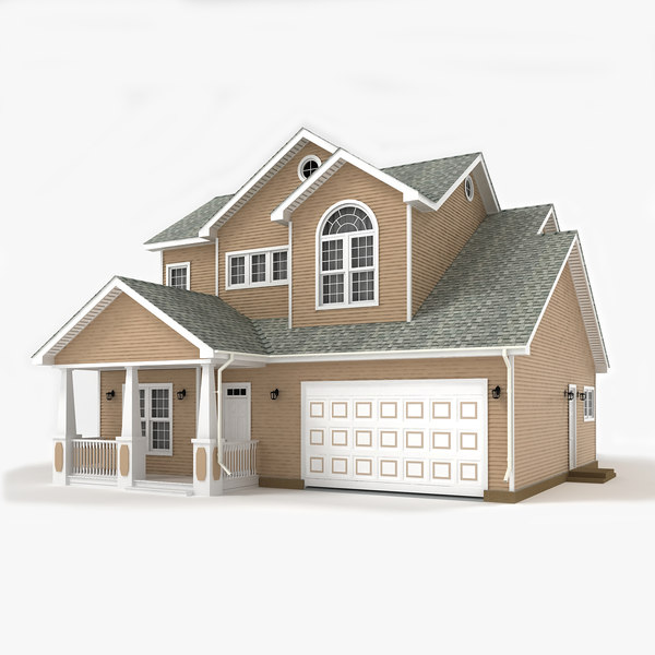 3d two-story cottage model