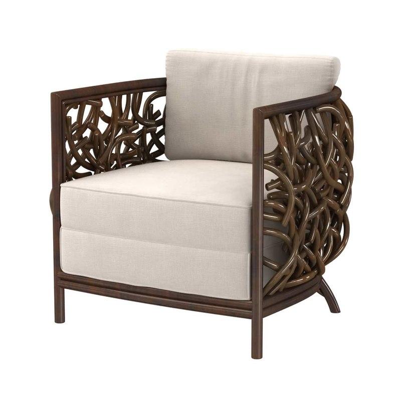 3D model chair auburn lounge
