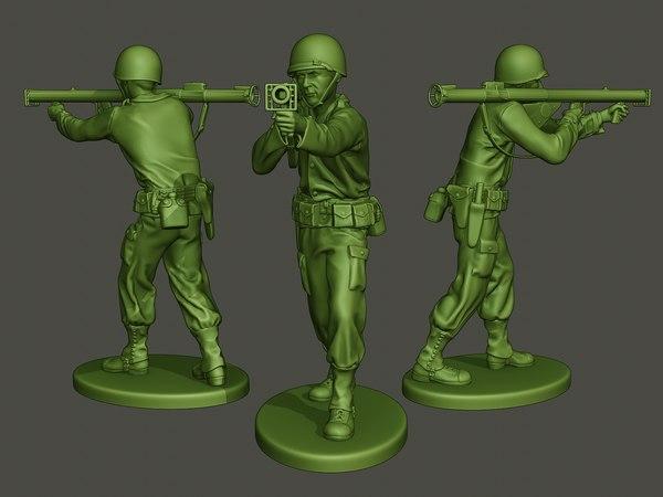 american soldier ww2 shoot 3D model