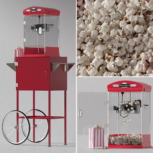 throwback movie theater popcorn 3D model