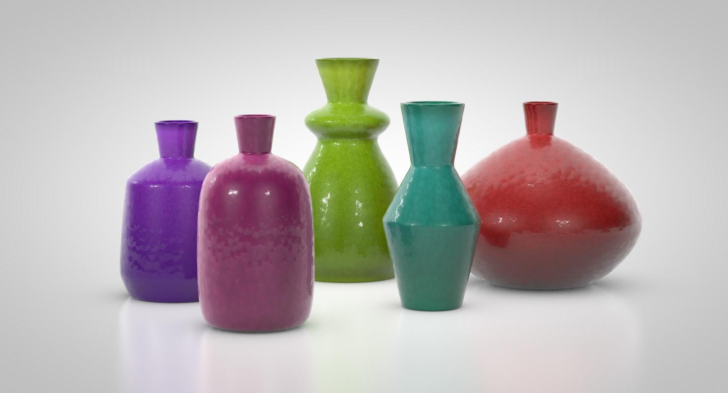 sculptural set glazed terracotta 3D model