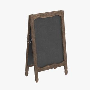 country menu board 3D model