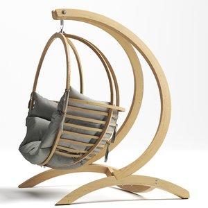 globo single wooden swing 3D model