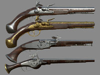 Wheelock Flintlock Wheelock Pistol Pack Bundle 3D Model Collection