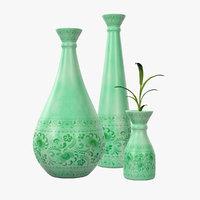 Green Patterned Vase Set
