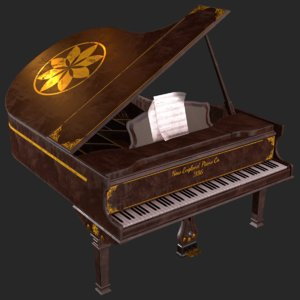old antique grand piano 3D model