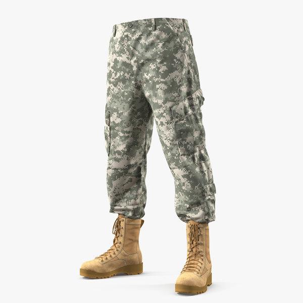 army acu pants boots 3D
