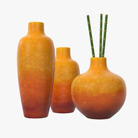3D set burnt umber vases model