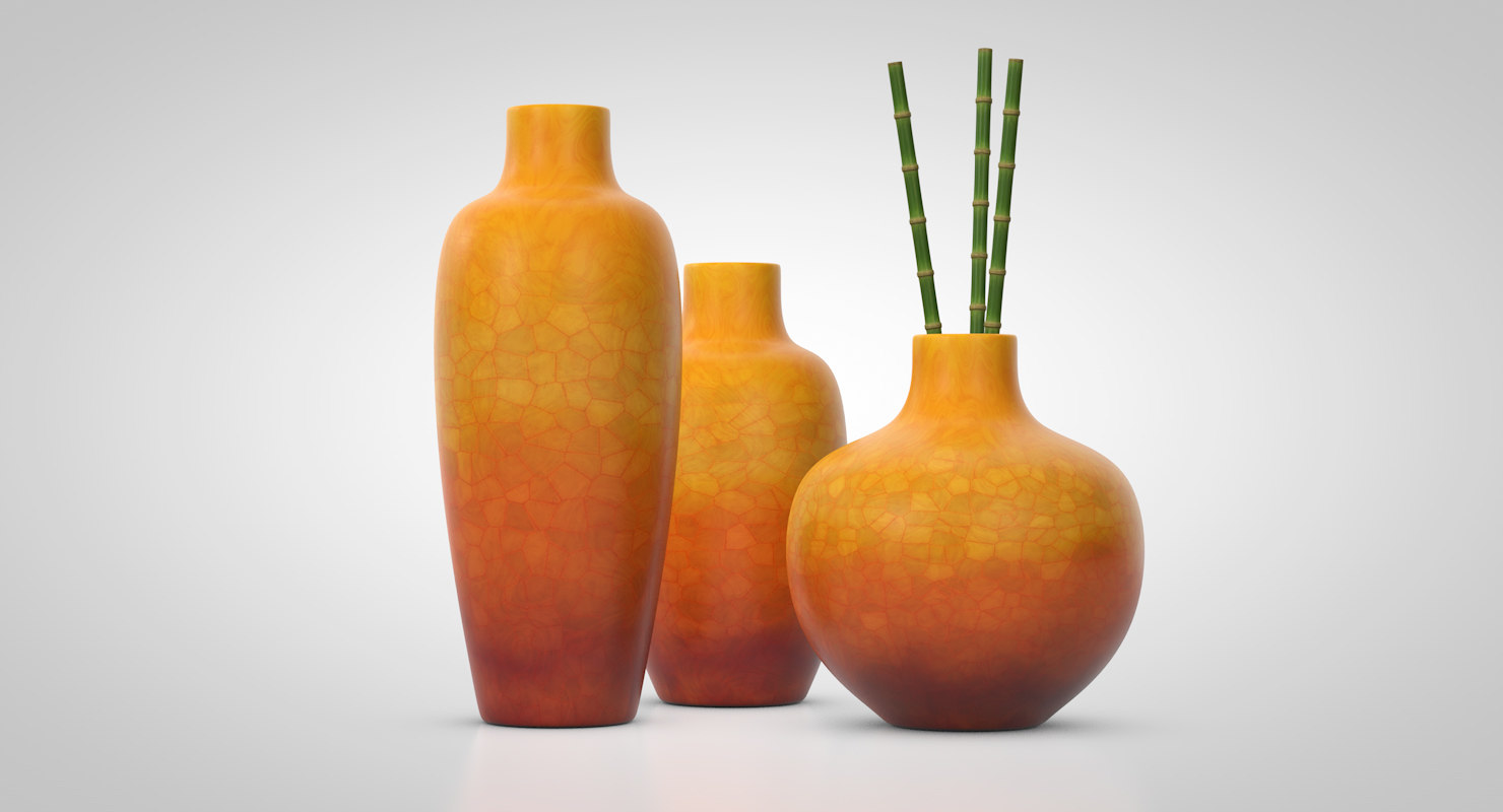3D set burnt umber vases model
