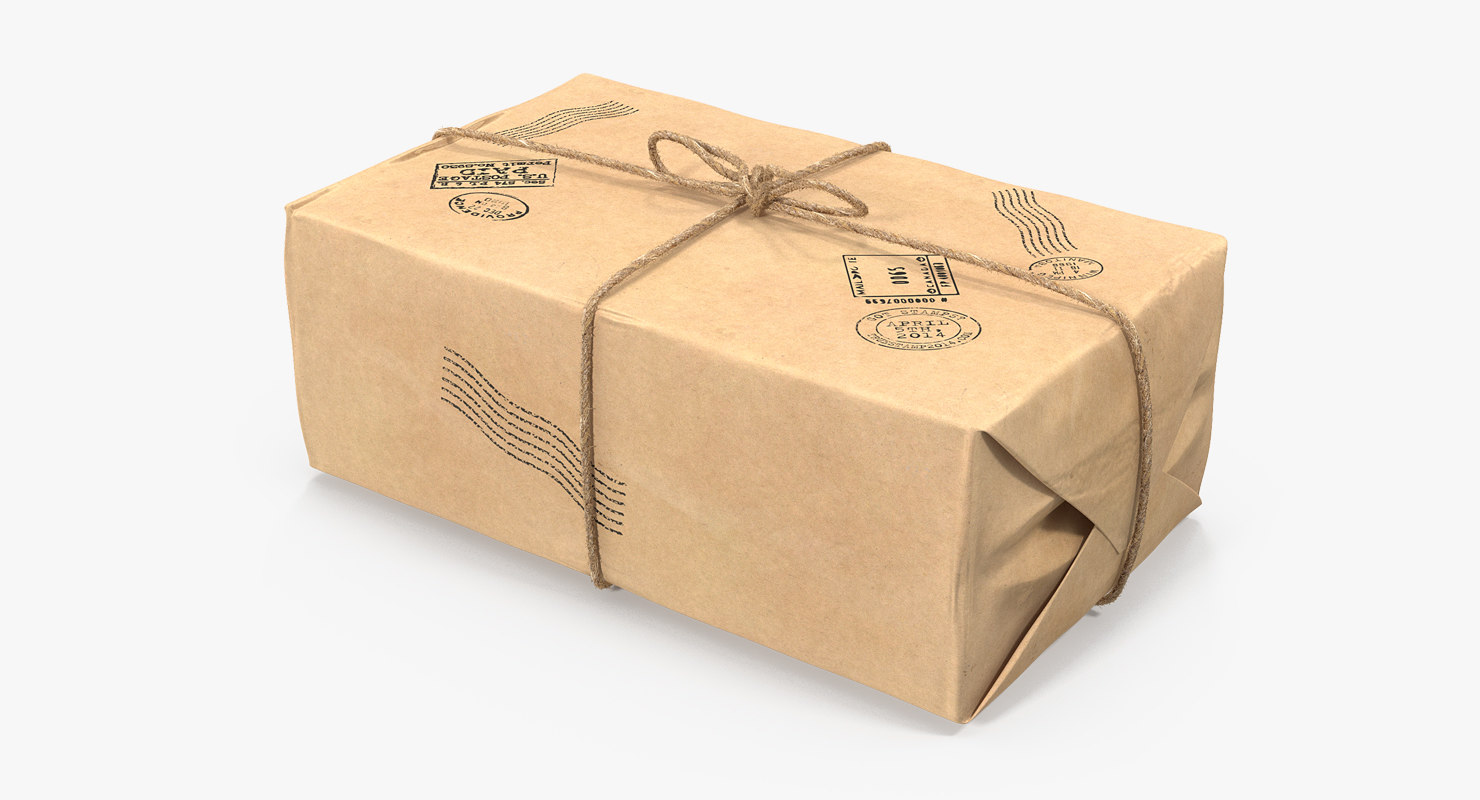 brown paper mail package 3D model