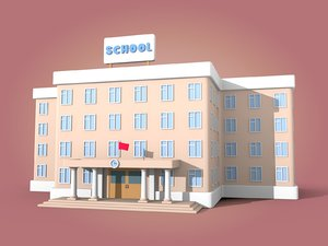 cartoon school 3D model