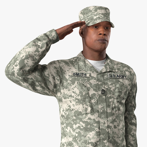 3D army camouflage soldier saluting
