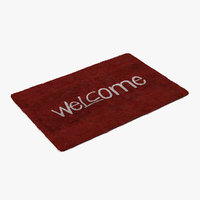 welcome doormat red color 3D model