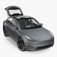 Tesla Model Y Silver Rigged 3D Model