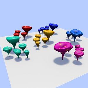 3D fantastic mushrooms model