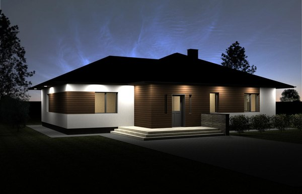 3D model simple one-storey family house