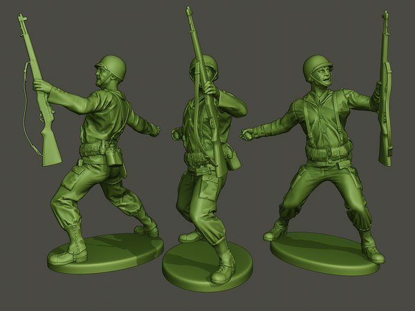 3D american soldier ww2 grenade model