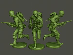 american soldier ww2 run 3D model