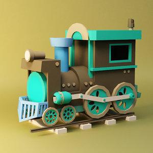 3D locomotive cartoon
