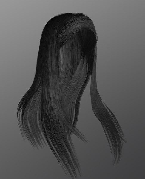 3D female hairstyle long hair model