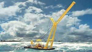 3D model asian hercules crane