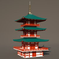 japanese temple 3D model