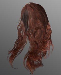 female hairstyle long hair 3D model