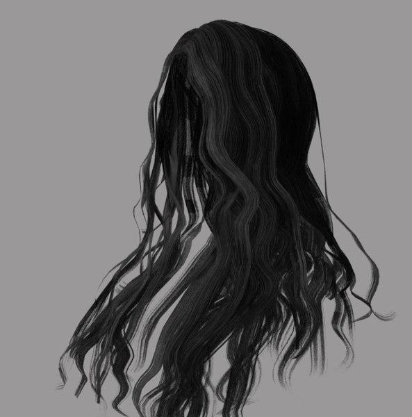female hairstyle long hair 3D